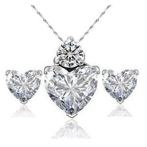 Jewelry - Crystal Heart Pendant Necklace Stud Earring Set